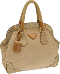 Luxury Accessories:Bags, Prada Natural Woven and Metallic Snakeskin Trim Large Tote. ...(Total: 2 Items)