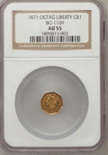 California Fractional Gold: , 1871 $1 Liberty Octagonal 1 Dollar, BG-1109, Low R.4, AU55 NGC. NGCCensus: (1/1). PCGS Population (16/67). (#10920)...