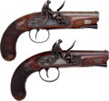 Handguns:Muzzle loading, Pair of English Flintlock Greatcoat Travelling Pistols byProsser.... (Total: 2 )