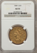 Liberty Eagles: , 1849 $10 AU55 NGC. NGC Census: (129/137). PCGS Population (31/46).Mintage: 653,618. Numismedia Wsl. Price for problem free...