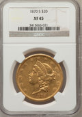 Liberty Double Eagles: , 1870-S $20 XF45 NGC. NGC Census: (183/891). PCGS Population(116/331). Mintage: 982,000. Numismedia Wsl. Price for problem ...