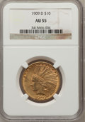 Indian Eagles: , 1909-D $10 AU55 NGC. NGC Census: (54/809). PCGS Population(111/868). Mintage: 121,540. Numismedia Wsl. Price for problem f...