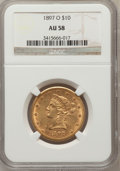 Liberty Eagles: , 1897-O $10 AU58 NGC. NGC Census: (140/193). PCGS Population(57/149). Mintage: 42,500. Numismedia Wsl. Price for problem fr...