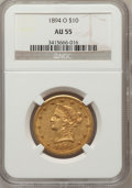Liberty Eagles: , 1894-O $10 AU55 NGC. NGC Census: (120/545). PCGS Population(77/235). Mintage: 107,500. Numismedia Wsl. Price for problem f...