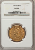 Liberty Eagles: , 1903-O $10 AU55 NGC. NGC Census: (34/1035). PCGS Population(96/837). Mintage: 112,771. Numismedia Wsl. Price for problem f...