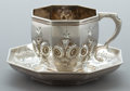 Silver Holloware, American:Cups, A JOHN C. MOORE COIN SILVER CUP AND SAUCER . John C. Moore, NewYork, New York, circa 1840. Marks: JCM, NEW YORK, BALL,TO...
