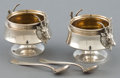 Silver Holloware, American:Open Salts, A CASED SET OF GORHAM SILVER AND SILVER GILT SAXON STAGPATTERN SALTS AND ASSOCIATED SPOONS . Gorham Manufacturi... (Total:3 )
