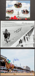 Miscellaneous Collectibles:General, Triple Crown Horse Racing Jockeys Signed Photographs Lot of 3....