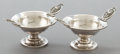 Silver Holloware, American:Open Salts, TWO AMERICAN SILVER MEDALLION PATTERN SALTS . Maker unknown,American, circa 1870. Unmarked. 2 inches high (5.1 ... (Total: 2Items)