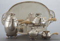 Silver Holloware, Continental:Holloware, A GEORG JENSEN FOUR-PIECE SILVER AND IVORY BLOSSOM PATTERNTEA AND COFFEE SERVICE WITH TRAY . Georg Jensen, Inc.... (Total: 5Items)