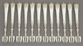Silver Flatware, Continental:Flatware, A CASED SET OF TWELVE FRENCH SILVER OYSTER FORKS . Maker unknown, France, circa 1880. Marks: (Minerva) (effaced). 5-7/8 inch... (Total: 12 Items)