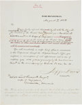 Autographs:Statesmen, Jefferson Davis Military Appointment Signed as Secretary of Warwith related documents.... (Total: 3 Items)