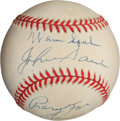 Autographs:Baseballs, 1990's Warren Spahn & Johnny Sain Signed Baseball....