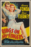 "Movie Posters:Comedy, Rings on Her Fingers (20th Century Fox, 1942). One Sheet (27"" X41""). Comedy.. ..."