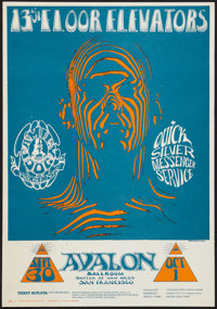 "13th Floor Elevators Concert Poster (Family Dog, 1966). Window Card (14"" X 20""). Rock and Roll"