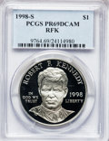 Modern Issues: , 1998-S $1 Robert F. Kennedy Silver Dollar PR69 Deep Cameo PCGS.PCGS Population (990/33). NGC Census: (1164/58). Numismedi...