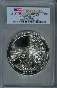 2010 25C Grand Canyon National Park Five Ounce Silver First Strike MS66 Deep Mirror Prooflike PCGS. PCGS Population (21/...