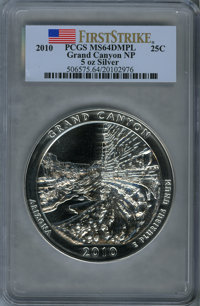 2010 25C Grand Canyon National Park Five Ounce Silver First Strike MS64 Deep Mirror Prooflike PCGS. PCGS Population (11/...