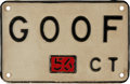 Baseball Collectibles:Others, 1956 Lefty Gomez Vanity License Plate....