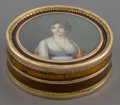 Silver Smalls:Snuff Boxes, A FRENCH TORTOISE SHELL AND GOLD BOX WITH PORTRAIT MINIATURE .Maker unknown, Paris, France, circa 1798-1809. Marks: (standa...