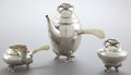 Silver Holloware, Continental:Holloware, A GEORG JENSEN THREE-PIECE SILVER AND IVORY BLOSSOM PATTERNTEA SET . Georg Jensen, Inc., Copenhagen, Denmark, ... (Total: 3Items)