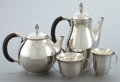 Silver Holloware, Continental:Holloware, A GEORG JENSEN FOUR-PIECE SILVER AND EBONY TEA AND COFFEE SERVICEDESIGNED BY HARALD NIELSEN . Georg Jensen, Inc., Copenhage...(Total: 4 Items)