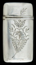 Silver Smalls:Match Safes, AN AMERICAN SILVER MATCH SAFE . Maker unknown, American, circa1880. Marks: STERLING . 2-1/4 inches high (5.7 cm). .6 tr...