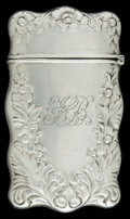 Silver Smalls:Match Safes, AN AMERICAN SILVER MATCH SAFE . Maker unknown, American, circa1900. Marks: STERLING. 2-5/8 inches high (6.7 cm). .8 tro...