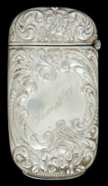 Silver Smalls:Match Safes, AN AMERICAN SILVER MATCH SAFE . Maker unknown, American, circa1900. Marks: STERLING . 2-3/4 inches high (7.0 cm). .8 tr...