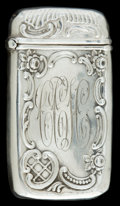 Silver Smalls:Match Safes, AN AMERICAN SILVER MATCH SAFE . Maker unknown, American, circa1894. Marks: STERLING, 253, (effaced) . 2-5/8 inches high...