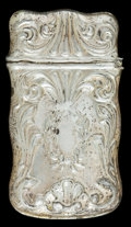 Silver Smalls:Match Safes, AN AMERICAN SILVER MATCH SAFE . Maker unknown, American, circa1900. Marks: STERLING . 2-3/8 inches high (5.9 cm). .3 tr...