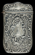 Silver Smalls:Match Safes, A MAHONEY SILVER MATCH SAFE . D.J. Mahoney, New York, New York,circa 1900. Marks: STERLING, M 19. 2-5/8 inches high (6....