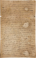 Miscellaneous:Ephemera, [Revolutionary War]. Prisoner of War Nathan Goodwin AutographLetter Signed....