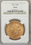 Liberty Double Eagles: , 1861-S $20 XF45 NGC. NGC Census: (143/457). PCGS Population(118/217). Mintage: 768,000. Numismedia Wsl. Price for problem ...