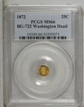 California Fractional Gold: , 1872 25C Washington Octagonal 25 Cents, BG-722, Low R.4, MS66 PCGS.PCGS Population (28/2). (#10549)...