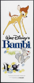 "Movie Posters:Animated, Bambi (Buena Vista, R-1982). Insert (14"" X 36""). Animated Fantasy.Starring the voices of Bobby Stewart, Stan Alexander, Pet..."