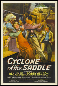 """Cyclone of the Saddle (MGM, 1935). One Sheet (27"""" X 41""""). Western. Starring Rex Lease, Bobby Nelson, Janet Cha..."""