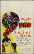 "Movie Posters:Crime, Dead End (United Artists, 1937). Window Card (14"" X 22""). Crime.Starring Humphrey Bogart, Sylvia Sidney, Joel McCrea and Al..."