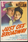 "Movie Posters:Mystery, Just Off Broadway (20th Century Fox, 1942). One Sheet (27"" X 41""). Mystery. Starring Lloyd Nolan, Marjorie Weaver, Phil Silv..."
