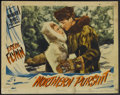 "Movie Posters:Adventure, Northern Pursuit (Warner Brothers, 1943). Lobby Card (11"" X 14"").Adventure. Starring Errol Flynn, Julie Bishop, Helmut Dant..."