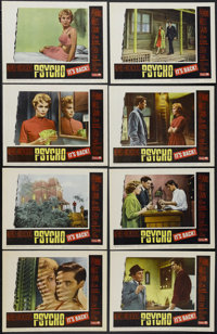 "Psycho (Paramount, R-1965). Lobby Card Set of 8 (11"" X 14""). Hitchcock Thriller. Starring Anthony Perkins, Jan..."