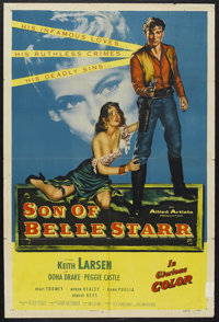 "Son of Belle Starr (Allied Artists, 1953). One Sheet (27"" X 41""). Western. Starring Keith Larsen, Dona Drake..."