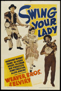 """Movie Posters:Comedy, Swing Your Lady (Warner Brothers, 1938). One Sheet (27"""" X 41"""").Future President Ronald Reagan played a sportscaster in this..."""