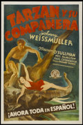 "Movie Posters:Adventure, Tarzan and His Mate (MGM, R-1930s). Spanish Language One Sheet (27""X 41""). Adventure. Starring Johnny Weissmuller, Maureen ..."