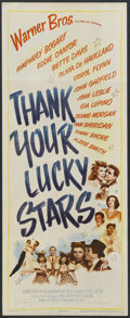 "Movie Posters:Musical, Thank Your Lucky Stars (Warner Brothers, 1943). Insert (14"" X 36""). Musical. Starring Eddie Cantor, Dinah Shore, Joan Leslie..."