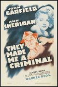 """Movie Posters:Crime, They Made Me a Criminal (Warner Brothers, R-1940s). One Sheet (27"""" X 41""""). Crime. Starring John Garfield, Claude Rains, Ann ..."""