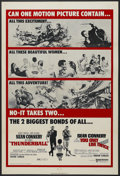 """Movie Posters:James Bond, Thunderball/You Only Live Twice Combo (United Artists, R-1970). One Sheet (27"""" X 41""""). James Bond Action. Starring Sean Conn..."""