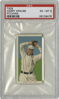 Baseball Cards:Singles (Pre-1930), 1909-11 T206 Harry Krause Pitching American Beauty (350) Back PSA EX-MT 6. Perhaps best known for his sparkling rookie seas...