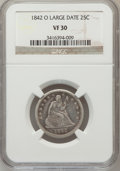 Seated Quarters: , 1842-O 25C Large Date VF30 NGC. NGC Census: (0/20). PCGS Population(2/57). Mintage: 769,000. Numismedia Wsl. Price for pro...