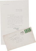 "Movie/TV Memorabilia:Memorabilia, A Margaret Mitchell of ""Gone With The Wind"" Fame Signed Letter,1938.. ..."